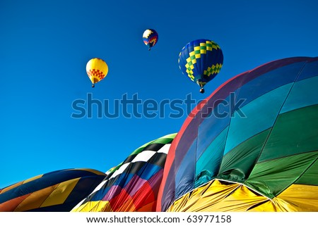 Colorful mass hot air balloon ascension