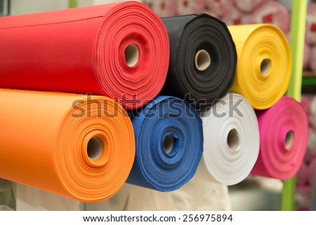 Colorful material fabric rolls -  texture samples