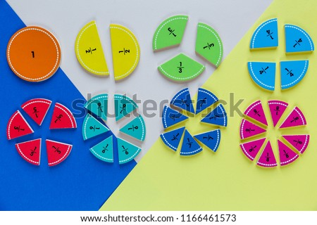 colorful math fractions on the bright backgrounds. interesting math for kids. Education, back to school concept. Geometry and mathematics materials. mental math