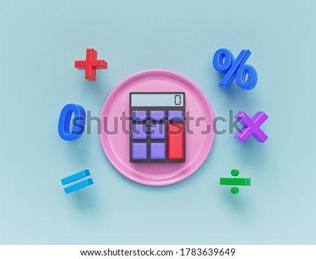 colorful Math Symbols, Icons Set with calculator. minimal design. 3d rendering