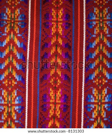 Colorful Mayan Cloth Pattern from Chiapas, Mexico - stock photo