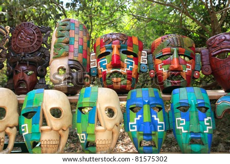 Colorful Mayan handcraft masks of indian culture in Jungle of Mexico