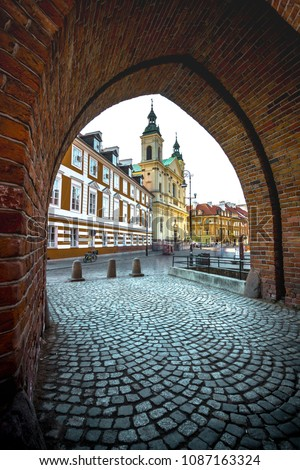 Colorful medieval buildings at the iconic old town of Warsaw, Poland. #1087163324