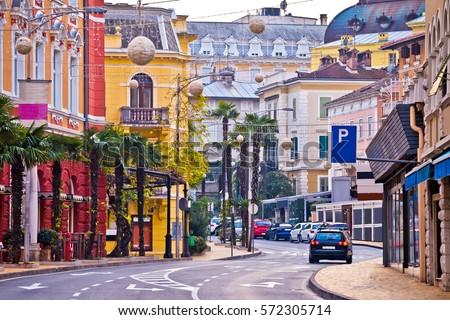Colorful mediterranean street architecture of Opatija, Kvarner bay of Croatia