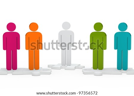 colorful men team figure stand on jisaw