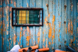 Colorful metal container with window