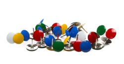 Colorful metal pushpins, thumb tacks isolated on white background