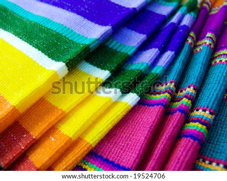 Colorful Mexican Blankets in local store. Cancun, Mexico.
