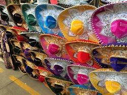 Colorful mexican sombrero hats costume souvenirs