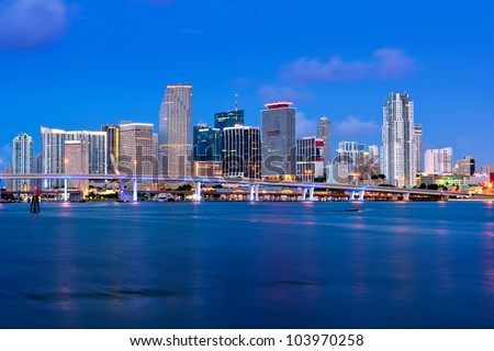 colorful miami waterfront skyline and harbor before dawn from macarthur causeway, high res capture, 2012