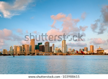 colorful miami waterfront skyline and harbor in pink dawn light, as seen from macarthur causeway, 2012