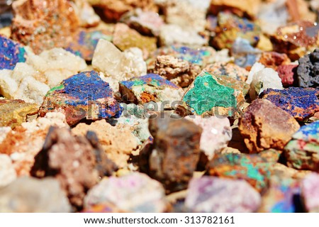Colorful minerals on Moroccan market