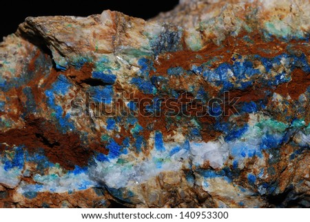 colorful minerals with bright blue azurite view details