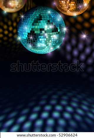 Colorful mirror balls reflect light on disco ceiling and floor