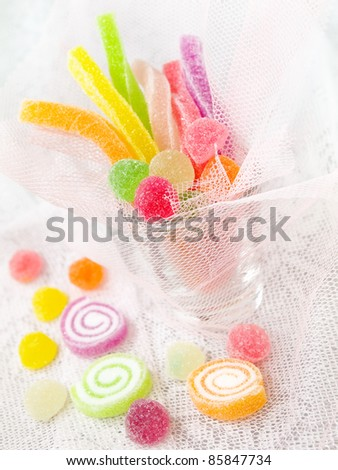 Colorful mix fruit jelly candy