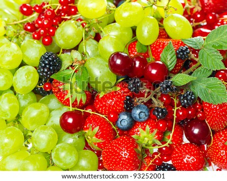 colorful mix of fresh berries - stock photo
