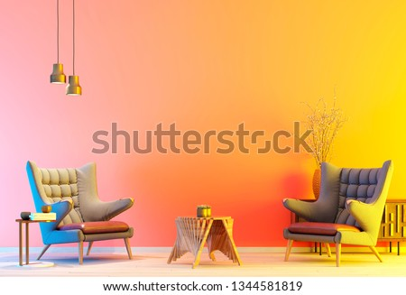 colorful modern interior with two armchair in a colorful color background wall, living room in modern style with low table and decor. colorful background. 3d rendering