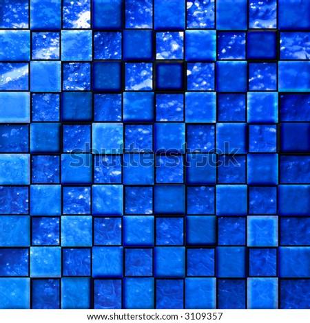 colorful modern mosaic tile in a bathroom blue