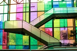 Colorful modern stained glass windows. Palais des congres Montreal