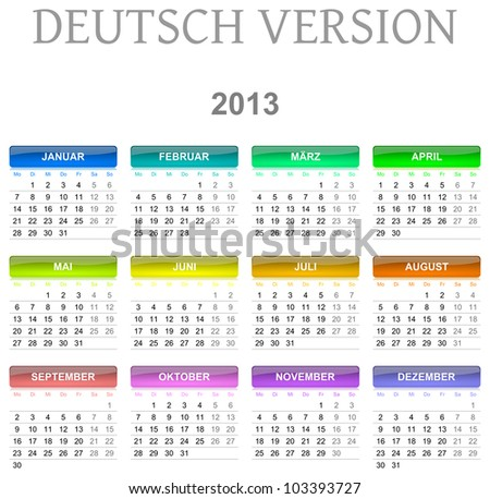 Colorful monday to sunday 2013 calendar deutsch version illustration