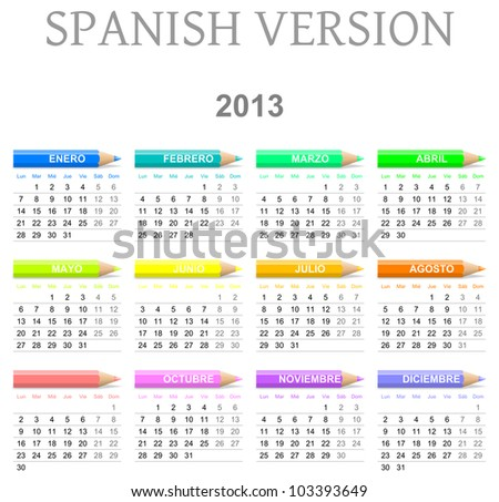 Colorful monday to sunday 2013 calendar with crayons spanish version illustration