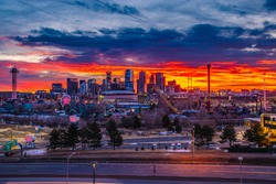Colorful Morning Sunrise Over Downtown Denver Skyline in Colorado