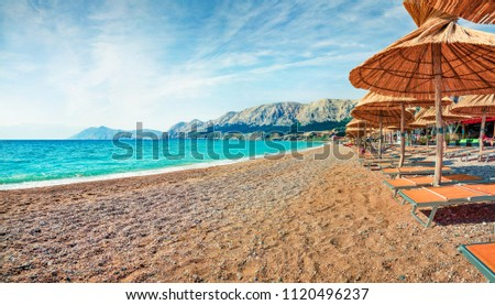 Colorful morning view of Bashka Beach in Baska town. Amazing summer seascape of Adriatic sea, Krk island, Kvarner bay archipelago, Croatia, Europe. Beautiful world of Mediterranean countries.
