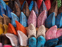 Colorful moroccan handmade leather shoes