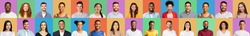 Colorful Mosaic Of Happy Faces And Portraits Of Young Millennial People Smiling Posing On Different Colored Backgrounds. Millennials Generation, Successful Multicutural People Group Portrait. Collage