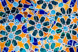 Colorful mosaic tiles at Guell Park Barcelona, ​​Spain