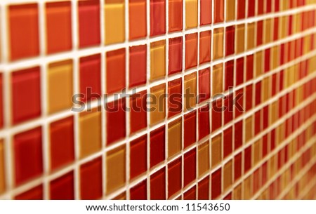 Colorful mosaic tiles with perspective