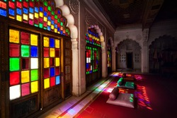 Colorful mosaic windows and doors in the emperor hall of , Meghrangarh fort in Jodhpur, Blue city, Rajasthan, India