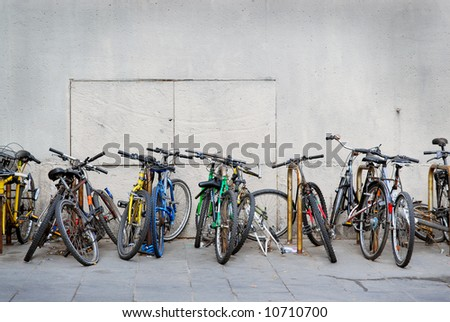 Colorful mountain bikes in El Raval Barcelona