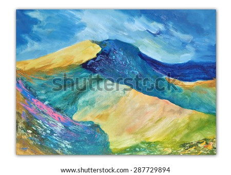 Colorful mountain landscape, spring in the mountains. Modern painting, palette knife, contemporary painting art, oil on canvas