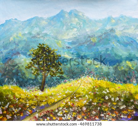 Stock Photo Colorful mountains oil painting. Sunny road in mountains. Solar flower meadow with a tree on a background of beautiful high mountains hand made oil painting on canvas. Impressionist art.