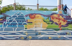colorful mural in mexican town
