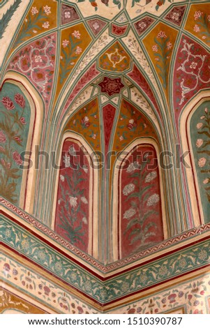 colorful mural painting at the entrance of Amber Fort, Jaipur, Rajasthan, India