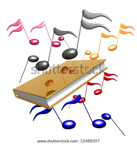 Colorful music notes and gold book reference icon illustration