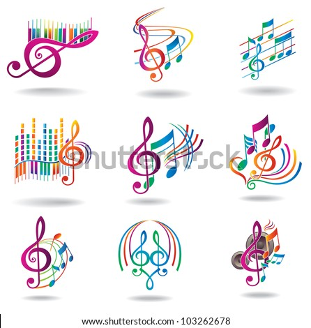 Colorful music notes. Set of music design elements or icons. - stock photo