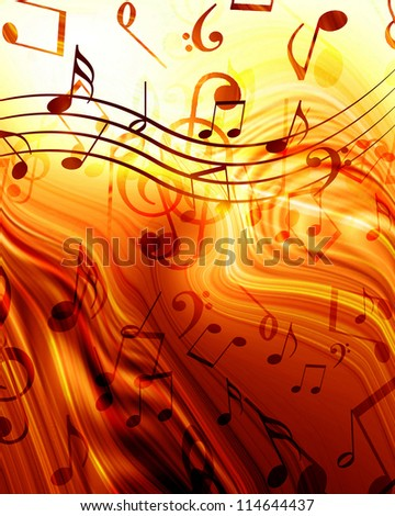 Colorful musical note on a soft glowing  background