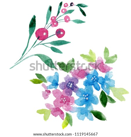 Colorful myosotis. Floral botanical flower. Wild spring leaf wildflower isolated. Aquarelle wildflower for background, texture, wrapper pattern, frame or border. #1119145667
