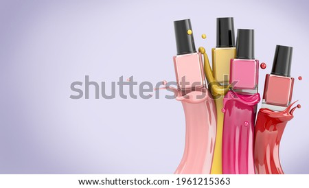Colorful nail lacquer, nail polish splatter on bright purple background. Vogue ads for design Cosmetics and fashion background . Colourful nail polish bottles on liquid splash. 3D render  Stock photo ©