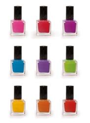 Colorful nail polish set isolated on white background