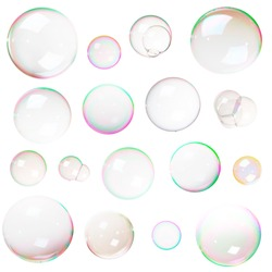 Colorful natural soap bubbles isolated on white background