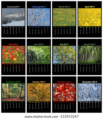 Colorful nature english calendar for 2014 in black background
