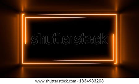 Colorful neon lamps in a dark corridor. Reflections on the floor. Empty background in the center. 3d rendering image.