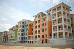 colorful new condominiums on the beach