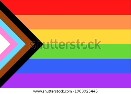 Colorful new Social Justice  Progress rainbow pride flag  banner of 2SLGBTQ+ (two spirit,Lesbian, gay, bisexual, transgender, Queer) organization. June is celebrated as the Pride Parade month Stockfoto ©