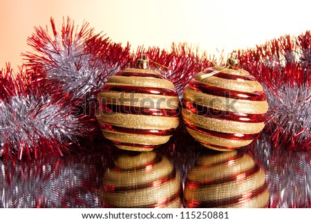 colorful New Year and Christmas decorations for the Christmas tree
