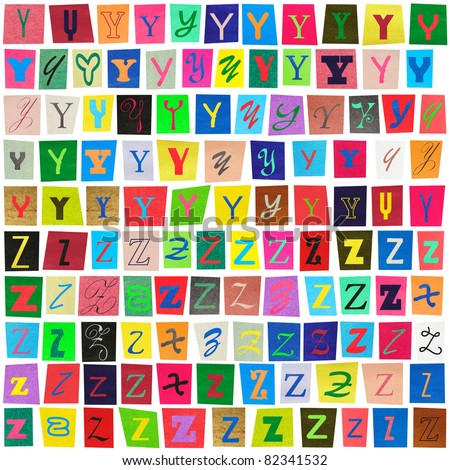 """Colorful newspaper alphabet of the letters """"Y"""" and """"Z"""" isolated on white"""